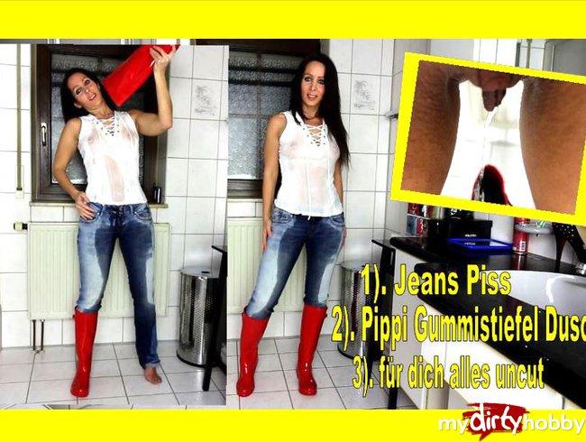 XXL Jeans-Piss mit T-Shirt Gummistiefel Pippi Dusche