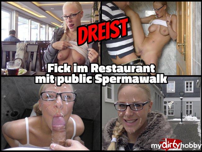 DREIST - Im Restaurant gefickt mit public Spermawalk