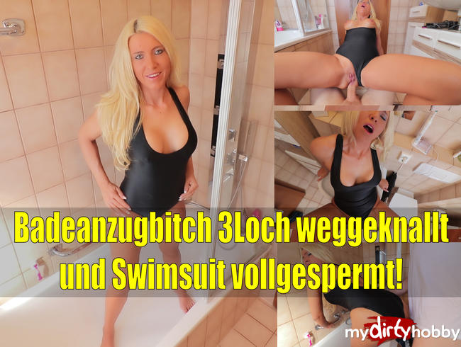 Badeanzugbitch 3Loch weggeknallt! Swimsuit vollgespermt!