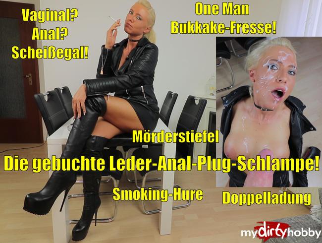 One Man Bukkake-Fresse nach Leder-Anal-Plug-Schlampen Arschfick!