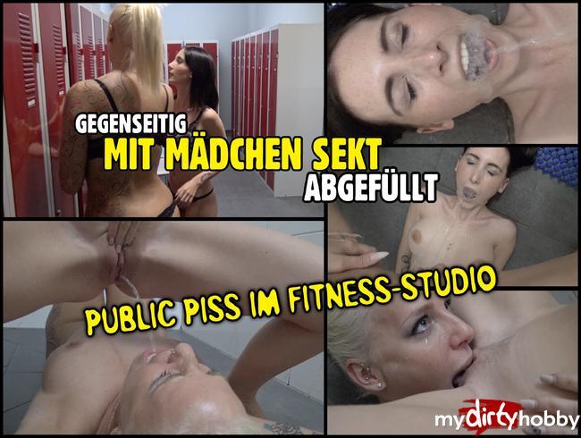 Gegenseitig mit Mädchen Sekt abgefüllt   PUBLIC PISS im Fitness-Studio
