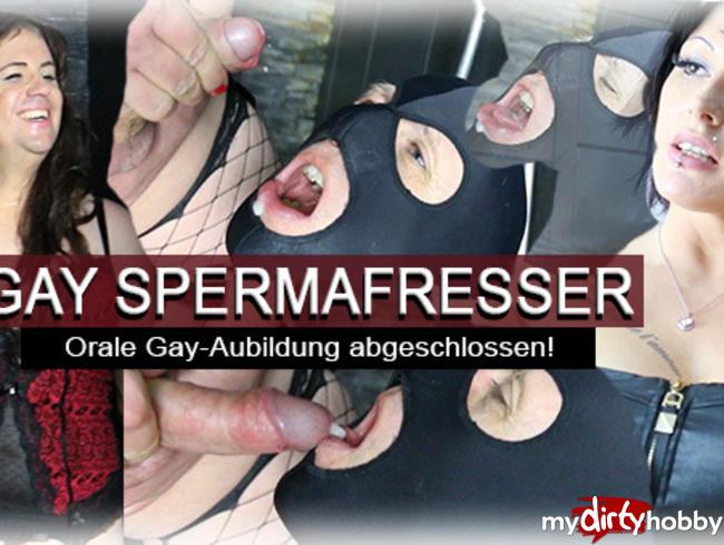 GAY Spermafresser! Orale Gay-Ausbildung abgeschlossen!