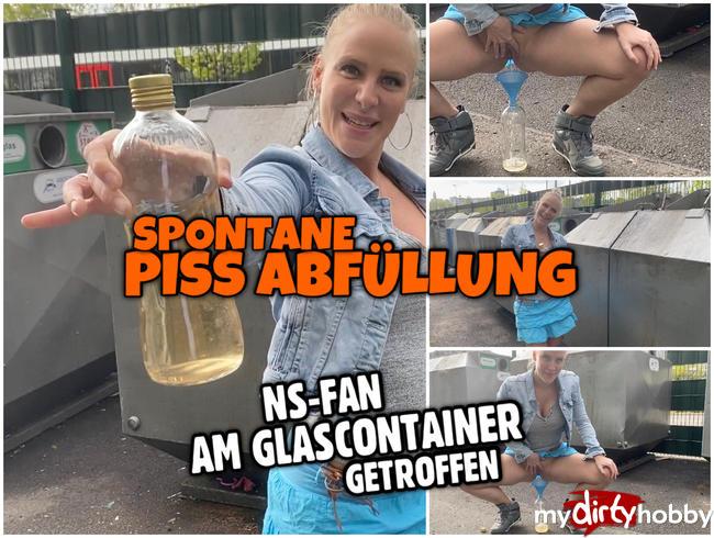 Spontane PUBLIC PISS Abfüllung | Fan am Glas Container getroffen