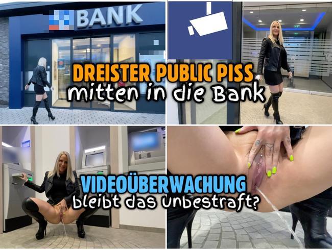 Dreister PUBLIC PISS in die Bank   Bleibt das unbestraft?